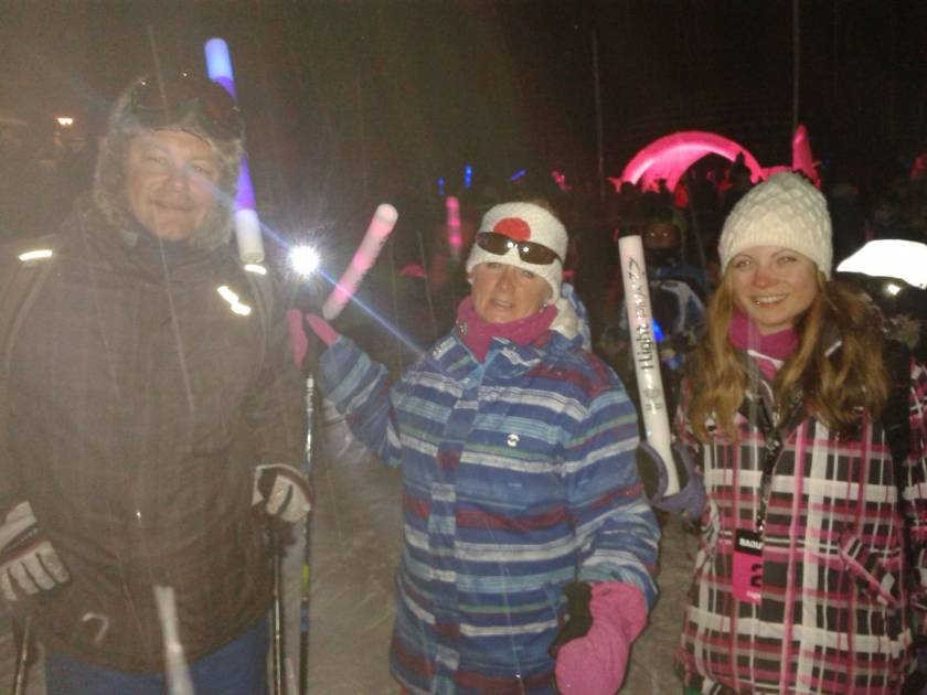 Skiing at night in aid of Breast Cancer