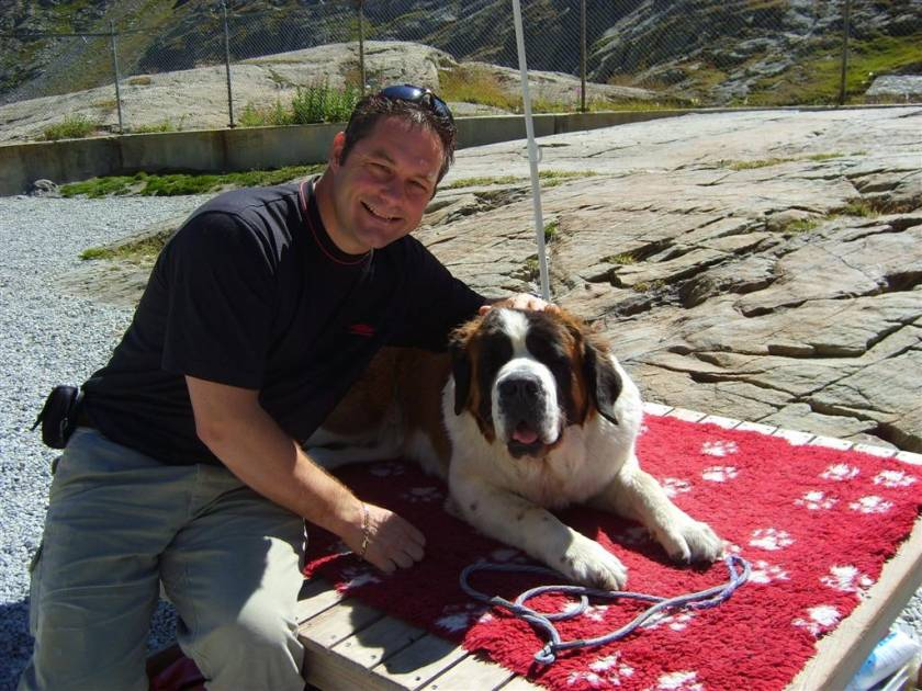 David with one of the St Bernards at the top of the pass